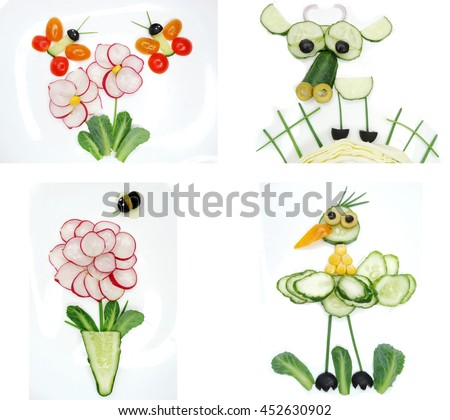 creative funny vegetable food snack with cucumber butterfly on flower form - stock photo