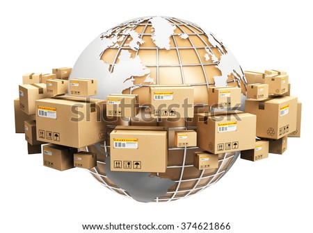 Creative global logistics, shipping and worldwide delivery business concept: Earth planet globe surrounded by heap of stacked corrugated cardboard boxes with parcel goods isolated on white background