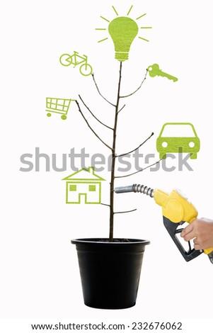 creative green fuel tree design concept - stock photo