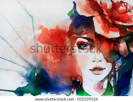 Creative hand painted fashion illustration - stock photo