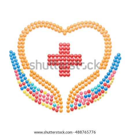 Creative healthcare concept made of drugs and pills, isolated on white. Medical pharmacy cross symbol.