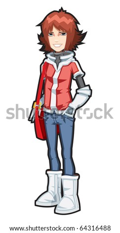 Creative high quality vector illustration of pretty young girl with red bag - stock photo