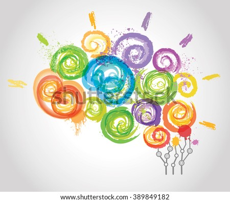 Creative Human Brain in the Work. Conceptual Background for Business and Education.  - stock photo