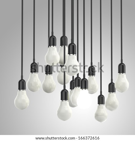 creative idea and leadership concept light bulb on grey background