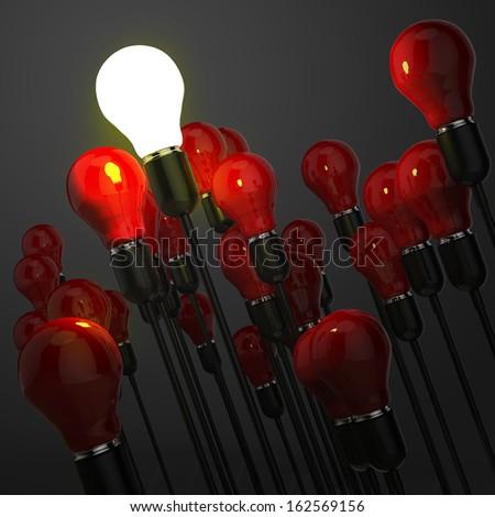 creative idea and leadership concept with 3d light bulb - stock photo