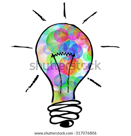 creative idea concept for business and intellectual layouts featuring an illustrated idea lightbulb with colorful circle patterns inside - stock photo
