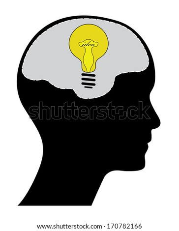 Creative idea concept, raster version. Man head with yellow light bulb and text. Easy to edit illustration with human head. - stock photo
