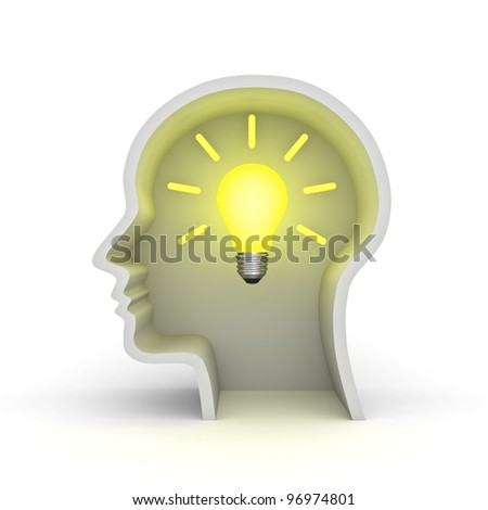 Creative idea light bulb concept isolated on white background - stock photo