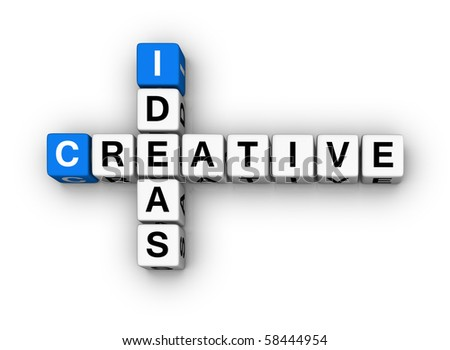 Creative Ideas  (blue-white cubes crossword series) - stock photo