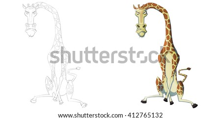 Creative Illustration and Innovative Art: Animal Set: The Sketch Line Art and Coloring Book: Angry Giraffe. Realistic Fantastic Cartoon Style Artwork Scene, Wallpaper, Story Background, Card Design  - stock photo