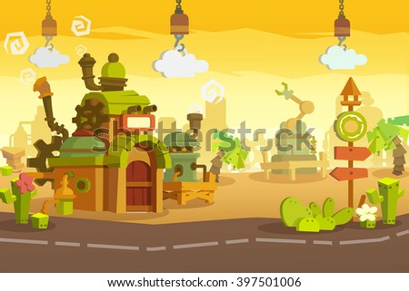 Creative Illustration and Innovative Art: Background Set 2: Industrial Town. Realistic Fantastic Cartoon Style Artwork Scene, Wallpaper, Story Background, Card Design  - stock photo