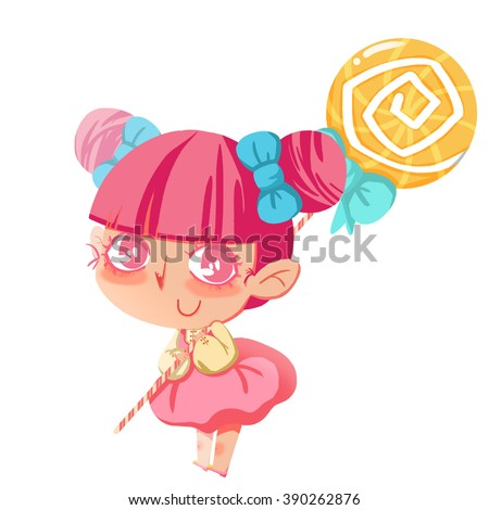 Creative Illustration and Innovative Art: Little Quirky Girl Carrying a Huge Lollipop. Realistic Fantastic Cartoon Style Artwork Scene, Wallpaper, Story Background, Card Design - stock photo