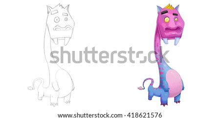 Creative Illustration and Innovative Art: Monster Creature Character Design Set 3: Long Neck Hippie iSolated on White Background. Realistic Fantastic Cartoon Style Character Design, Story, Card Design - stock photo