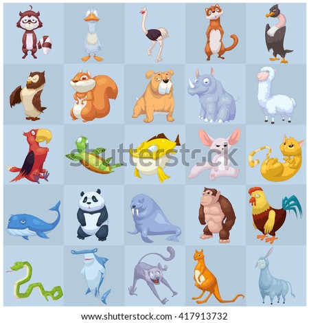 Creative Illustration and Innovative Art: Monster Plant Animal Creature Set 2 iSolated on Grids Background. Realistic Fantastic Cartoon Style Character Design, Wallpaper, Story, Card Design - stock photo