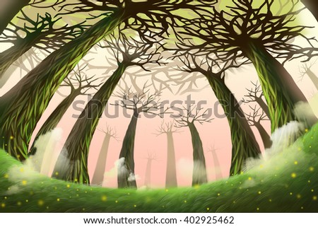 Creative Illustration and Innovative Art: Mystery Forest. Realistic Fantastic Cartoon Style Artwork Scene, Wallpaper, Story Background, Card Design  - stock photo
