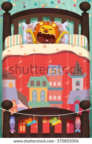 Creative Illustration and Innovative Art: Sleeping Lion! Realistic Fantastic Cartoon Style Artwork Scene, Wallpaper, Story Background, Card Design