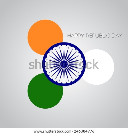 Creative Illustration for Indian Republic Day with tricolors and ashoka wheel.  - stock photo
