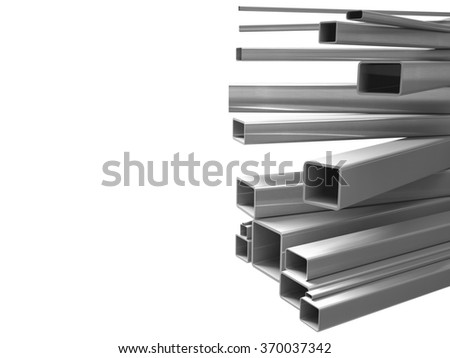 Creative illustration: many shiny steel pipes, industrial three-dimensional image, illustration. A set of tubes stacked in layers, great for business cards, billboards, and other advertising.  - stock photo