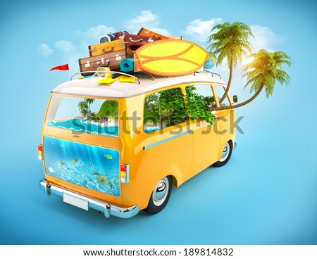 Creative Illustration of traveling theme. Minivan with luggage and tropical island inside. Underwater world. - stock photo