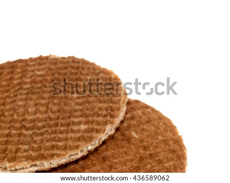 Creative Images of Two Breakfast Toffee Waffles Isolated Against a White Background With Copy Space - stock photo