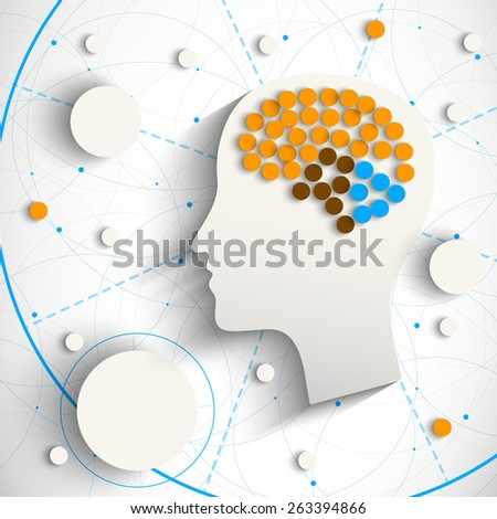 Creative infographic template with humn head for your design - stock photo