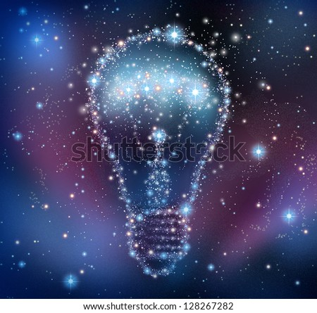 Creative inspiration and imagination of new ideas as a night sky with a group of stars and planets as a bright space constellation in the shape of a shining light bulb. - stock photo