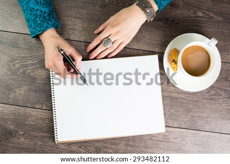 creative inspiration. Draw sketches or write brilliant ideas. Inspiration for designer artist. Empty space notebook for blog entries, you can place your text information. Top view. Lunch coffee break  - stock photo