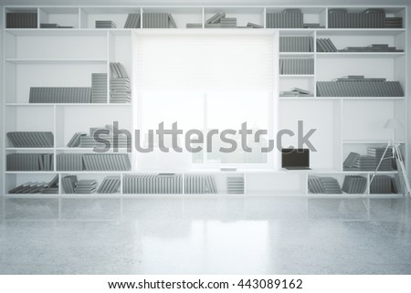 Creative interior with built-in bookcase, blank laptop, concrete floor and window with city view. 3D Rendering - stock photo