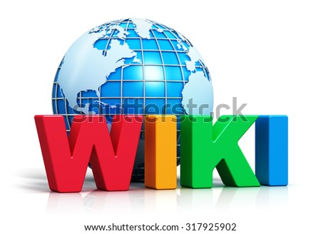 Creative internet encyclopedia, knowledge database learning and online education studying concept: color Wiki word text and blue Earth planet globe isolated on white background with reflection effect - stock photo