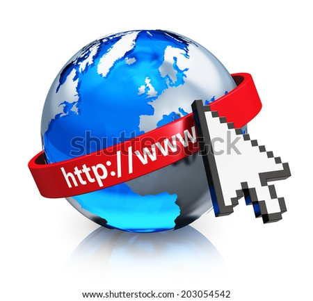 Creative internet, web and global communication network business concept: blue glass Earth globe with arrow computer mouse cursor and red www address isolated on white background with reflection - stock photo