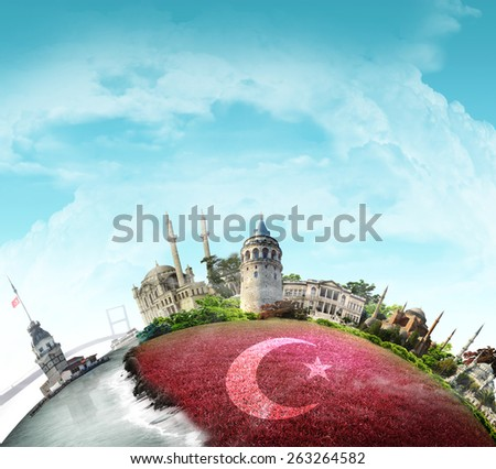 creative istanbul, turkey flag, istanbul view background - stock photo
