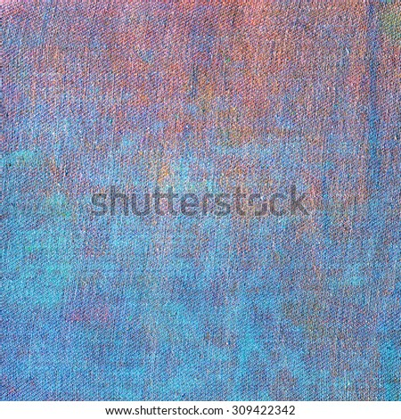 Creative Jeans Texture Background. Blue Red Orange color canvas - stock photo