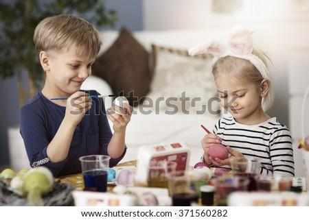 Creative kids during the Easter  - stock photo