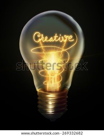 Creative light bulb   - stock photo