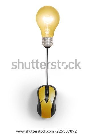 Creative light bulb symbol with computer mouse sign  - stock photo