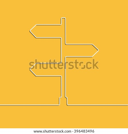 Creative linear direction arrow sign. The concept of choosing the direction of the road junction. Graphic illustration - stock photo