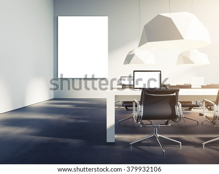 Creative loft style office studio. With empty poster template. Trendy colors. 3d render - stock photo