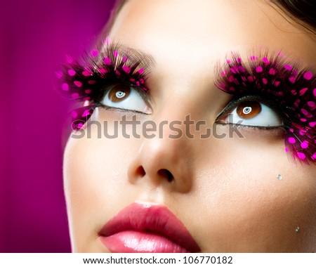 Creative Makeup. False eyelashes - stock photo