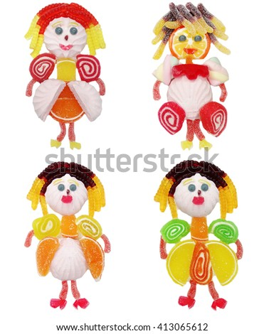 creative marmalade candy sweet child dessert princess form collage                                - stock photo