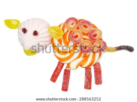 creative marmalade candy sweet child dessert ship form                                - stock photo