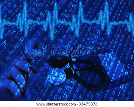 creative medical theme paint with cardiogram and tool in blue - stock photo