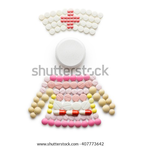 Creative medicine and healthcare concept made of drugs and pills, nurse or female doctor in hospital isolated on white.