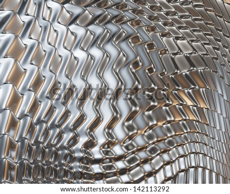 Creative metallic reflections concept. Abstract metal surface design