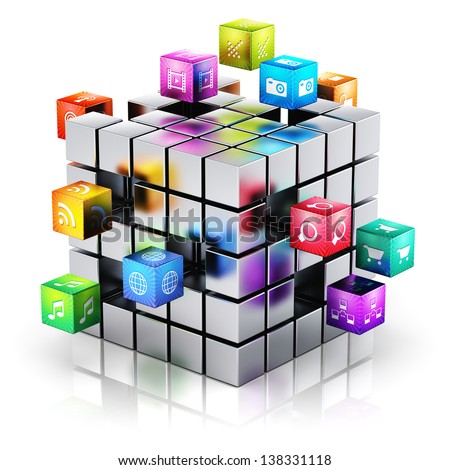 Creative mobile applications, media technology and internet networking web communication concept: metal cube with cloud of color application icons isolated on white background with reflection effect