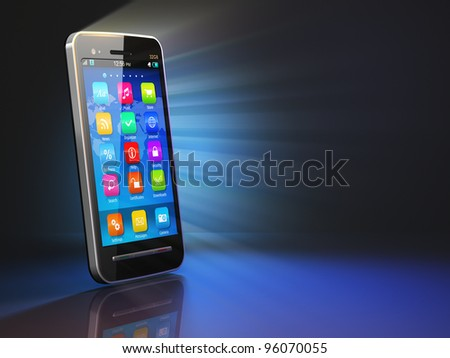Creative mobility concept: black glossy touchscreen smartphone on black background with reflection effect - stock photo