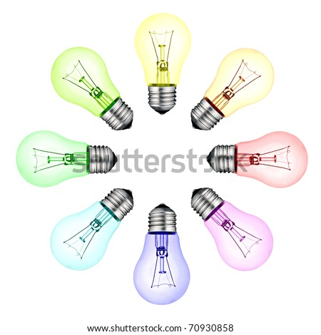 Creative New Ideas - Circle of Colored Lightbulbs Isolated on White Background - stock photo