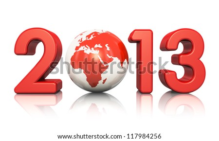 Creative New Year 2013 concept with red glossy Earth globe isolated on white background with reflection effect - stock photo