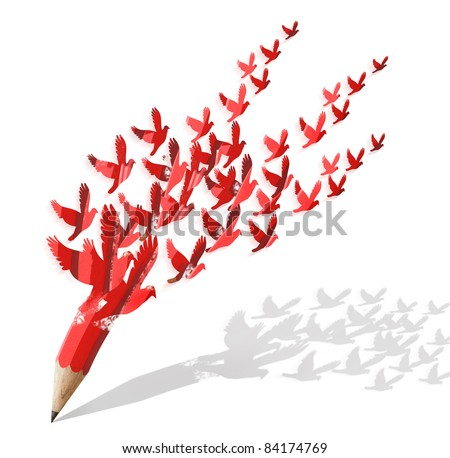 creative pencil with birds image isolate on white - stock photo