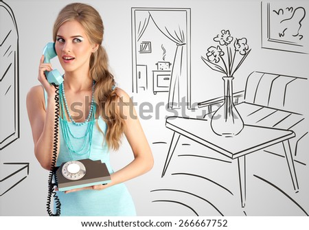 Creative photo of a pretty pin-up girl speaking via vintage phone on a home sketchy background. - stock photo