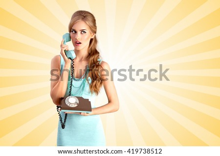 Creative photo of a pretty pin-up girl speaking via vintage phone on colorful abstract cartoon style background. - stock photo